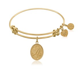 Expandable Yellow Tone Brass Bangle with Initial M Symbol