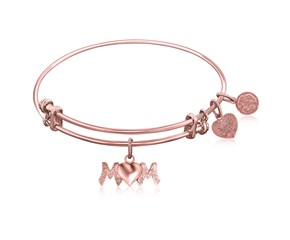 Expandable Pink Tone Brass Bangle with Mom Symbol