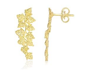 Vine Design Earrings in 14K Yellow Gold