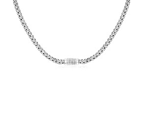 White Sapphire Embellished Woven Chain Necklace in Sterling Silver