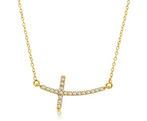 Curved Cross Necklace with Diamond Accents in 14k Yellow Gold (.21cttw)