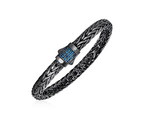 Woven Rope Bracelet with Blue Topaz and Black Finish in Sterling Silver