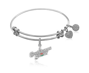 Expandable White Tone Brass Bangle with A Christmas Story Symbol