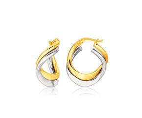 Fancy Double Twist Earrings in 14K Two Tone Gold