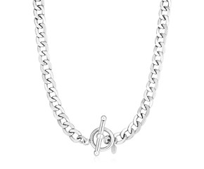 Sterling Silver Polished Wide Link Toggle Necklace