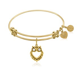Expandable Yellow Tone Brass Bangle with Owl Angelica Symbol