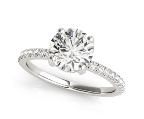 14k White Gold Round Diamond Engagement Ring with Scalloped Single Row Band (2 1/4 cttw)