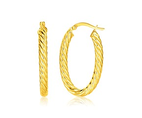 Twisted Cable Oval Hoop Earrings in 14K Yellow Gold