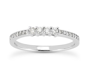 14k White Gold Diamond Wedding Ring Band with Prong and Pave Set Diamonds