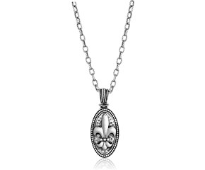 Diamond Accented Oval Fleur De Lis Pendant in Sterling Silver
