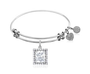 Expandable White Tone Brass Bangle with Asscher Cut Rectangular Cubic Zirconia