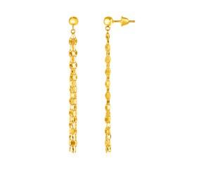 14k Yellow Gold Polished Drop Earrings