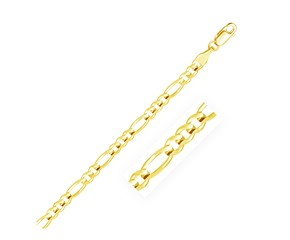 Solid Figaro Bracelet in 14k Yellow Gold (4.5mm)