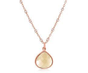 Smokey Quartz Wide Teardrop Pendant in Rose Gold Plated Sterling Silver