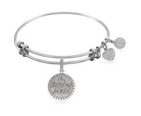 Expandable White Tone Brass Bangle with Brides Maid Symbol