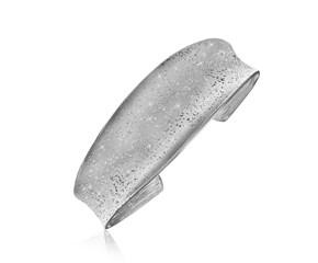 Diamond Dust Graduated Open Cuff in Sterling Silver