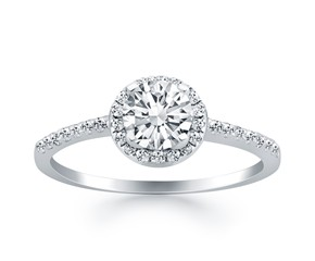 Diamond Halo Collar Engagement Ring Mounting in 14K White Gold
