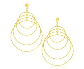 Multiple Layer Graduated Circle Earrings in 14K Yellow Gold