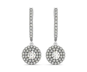 Round Double Halo Style Diamond Drop Earrings in 14k White Gold (1 cttw)