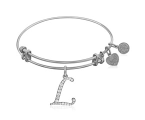 Expandable White Tone Brass Bangle with L Symbol with Cubic Zirconia
