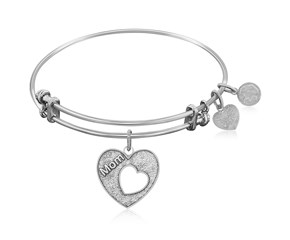 Expandable White Tone Brass Bangle with Mother's Special Love Symbol