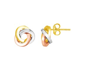 14k Tri Color Gold Love Knot Earrings