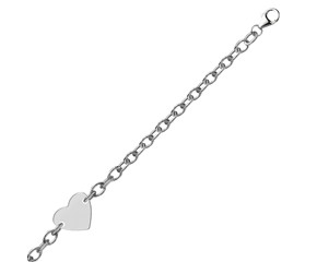 Flat Heart Shape Stationed Chain Bracelet in Rhodium Plated Sterling Silver