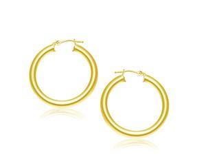 Classic Hoop Earrings in 14K Yellow Gold (30mm Diameter) (4.0mm)