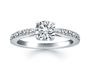 Diamond Pave Cathedral Engagement Ring in 14k White Gold