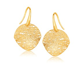 Textured Weave Disc Shaped Earrings in 14K Yellow Gold