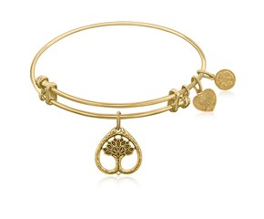 Expandable Yellow Tone Brass Bangle with Tree Of Life Growth Maturity Symbol