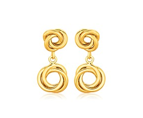 Stud Love Knot Earrings with Drop in 14K Yellow Gold