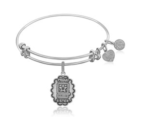 Expandable White Tone Brass Bangle with U.S. Army Proud Sister Symbol