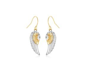 Wing Motif Drop Earrings in 10K Two-Tone Gold