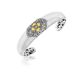 Center Diamond Motif Baroque Style Open Cuff in 18k Yellow Gold and Sterling Silver