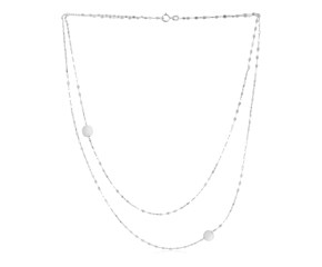 14k White Gold Two Strand Necklace with Disc