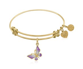 Expandable Yellow Tone Brass Bangle with Pink Enamel Butterfly Symbol