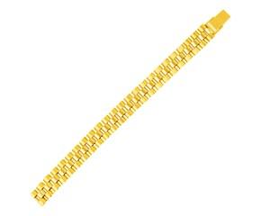 14k Yellow Gold Mens Panther Link Bracelet