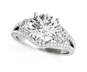 14k White Gold 3 Stone Split Pave Shank Round Diamond Engagement Ring (2 3/4 cttw)