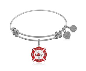 Expandable White Tone Brass Bangle with Red Enamel Fire Fighter Symbol