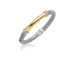 Diamond Accented Striped Style Bangle in 18k Yellow Gold and Sterling Silver (.04 cttw)