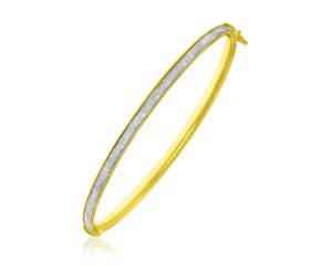 Glitter Center Stackable Bangle in 14k Yellow Gold
