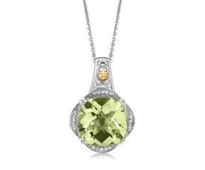 Green Amethyst and Diamond Embellished Fleur De Lis Cushion Pendant in 18k Yellow Gold and Sterling Silver (.09 cttw)
