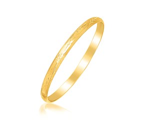 Diamond Cut Fancy Children's Bangle in 14k Yellow Gold