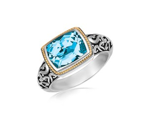 Rectangular Blue Topaz Milgrained Ring in 18k Yellow Gold and Sterling Silver
