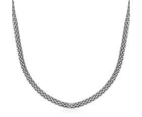 Classic Popcorn Necklace in Rhodium Plated Sterling Silver