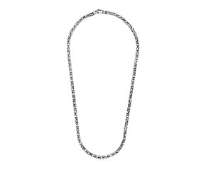 Sterling Silver Gunmetal Finish Byzantine Chain Necklace