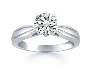 Tapered Engagement Solitaire Ring Setting in 14K White Gold