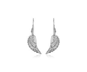 Sterling Silver Textured Angel Wing Earrings