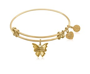 Expandable Yellow Tone Brass Bangle with Grand Daughter Symbol